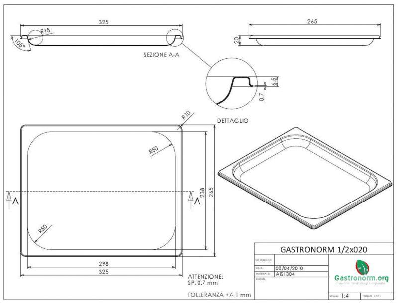 gastronorm contenedor 1 2 h20 acero. Black Bedroom Furniture Sets. Home Design Ideas