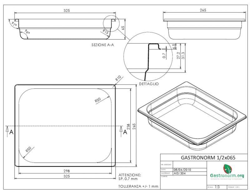 gastronorm 1 2 h65 bacinella gastronorm in acciaio inox aisi 304 gn 1 2 dim 325x265 altezza. Black Bedroom Furniture Sets. Home Design Ideas