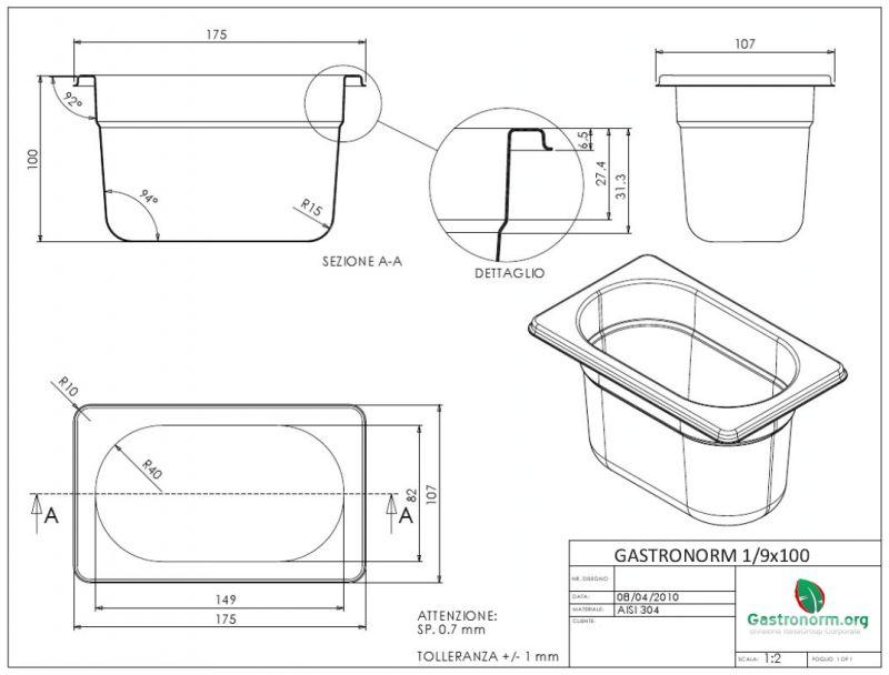 gastronorm 1 9 h100 bacinella gastronorm in acciaio inox aisi 304 gn 1 9 dim 176x108 altezza. Black Bedroom Furniture Sets. Home Design Ideas