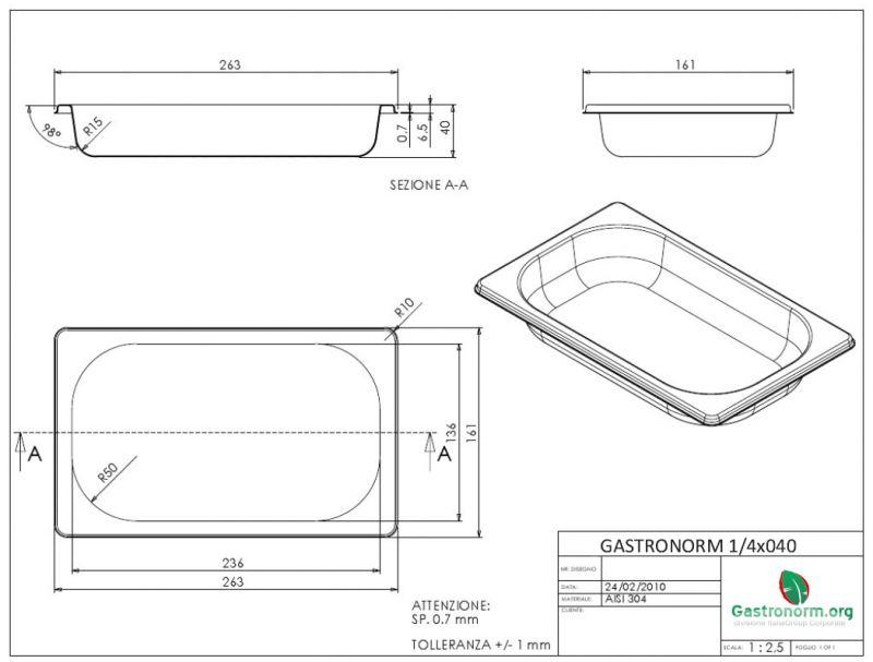 gastronorm 1 4 h40 bacinella gastronorm in acciaio inox aisi 304 gn 1 4 dim 265x162 altezza. Black Bedroom Furniture Sets. Home Design Ideas
