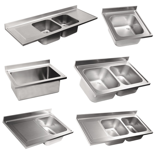 Top sinks in stainless steel AISI 304.