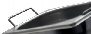 GST1/2P150M Récipient Gastronorm 1 / 2 H150 avec des poignées en acier inox AISI 304