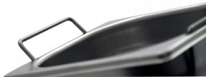 GST1/4P100M contenedores Gastronorm 1 / 4 H100 con asas en acero inoxidable AISI 304