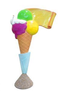 EG011A Gelato con pergamena - cono pubblicitario 3D per gelateria altezza 150 cm