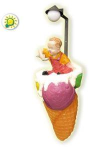 SG018A Cono gelato con bambino illuminato da parete in vetroresina
