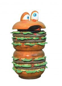 SR014 Poubelle Hamburger - Poubelle publicitaire 3D pour la gastronomie hauteur 133 cm