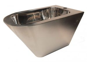 """LX3518 Professional suspended bidet """"GQ in Aisi 304 stainless steel with satin finish and internal glossy finish"""