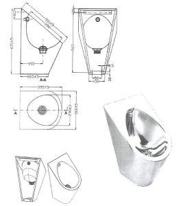 """LX3600 Urinario profesional """"GQ"""" - brillante"""