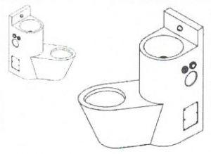 LX3650 Combinación profesional de inodoro + lavabo - Versión izquierda - satinado