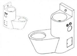 LX3680 Professional combination WC with sink - Right version - satin