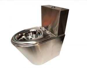 LX3780 WC Monobloque pulido profesional con cómoda de 2 cajones con asiento de acero inoxidable