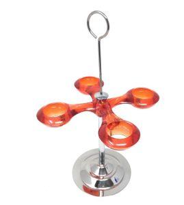ITP157A-PROMO  Portacono da banco in acciaio inox  da 4 appoggi in acrilico arancione