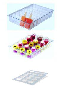 ITP804 Soporte para palitos + soporte para mini porciones en policarbonato para vitrinas de helados