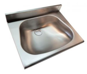 LX1440-5 Lavamani per mensole con spallina in acciaio inox 500x350x130 mm -SATINATO-