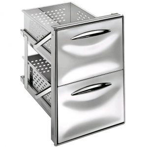 ICCS12 40GS Stainless steel drawer unit 1/2 simple guide Rounded corners Drawer depth 43.1 cm