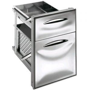 ICCS23 40GS Cajón de acero inoxidable 2/3 guía simple Esquinas redondeadas Profundidad del cajón 43,1 cm