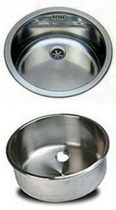 LV038/A évier rond en acier inoxydable diam. 380x180h encastrable