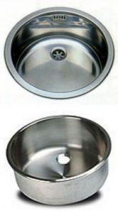 LV038/A round inset stainless steel sink diam. 380x180h recessed with waste