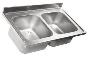 LV6014 Top sink Aisi304 stainless steel dim.1300X600 2 bowls