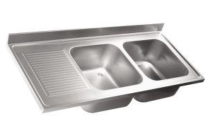 LV6022 Top lavello in acciaio inox AISI 304 dim.1400X600 2 vasche 1 sgocciolatoio SX