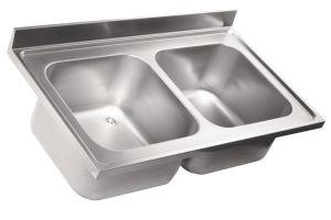 LV7023 Top lavello in acciaio inox AISI 304 dim.1400X700 2 vasche