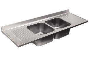 LV7057 Top lavello in acciaio inox AISI 304 dim.2000X700 2 vasche 2 sgocciolatoi