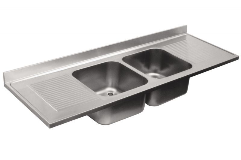 Top lavello in acciaio inox AISI 304. 2 vasche 2 sgocciolatoi. dim ...