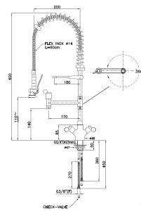 KL2060 Gruppo doccia PROFESSIONALE da banco monoforo manopole NERO 60