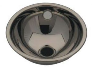 LX1050 Stainless steel spherical washbasin central waste 310X340X125 mm - SATIN -