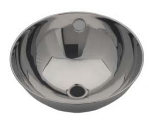LX1190 Circular washbasin with rolled edge in stainless steel 246x258x130 mm -LUCIDO-