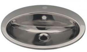 LX1250 Lavabo ovalado con orificio para grifo en acero inoxidable 530x450x160 mm -LUCIDO-