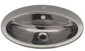 LX1250 Oval washbasin with tap hole in stainless steel 530x450x160 mm -LUCIDO-