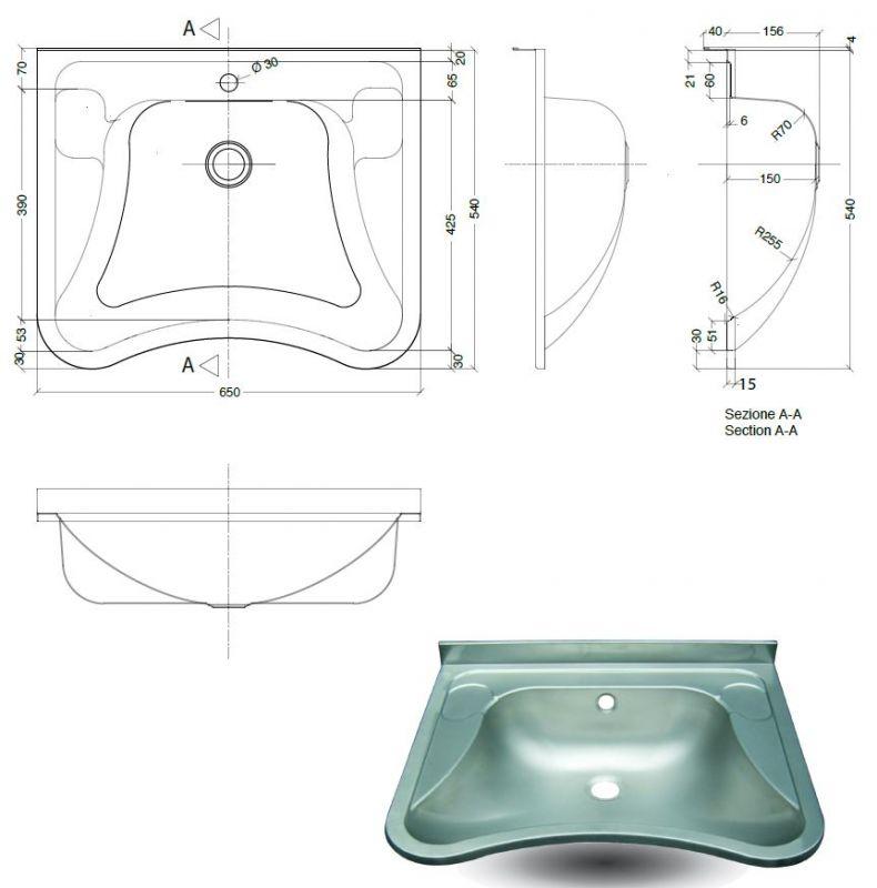 Lx1490 Lavabo Per Disabili In Acciaio Inox Aisi 304 650x540x156 Mm Satinato