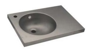 LX1560 Washbasin with top in stainless steel 450X350X125 mm - SATIN -