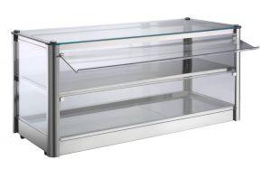 VKB82N Neutral countertop display cabinet 2 SHELVES in stainless steel sheet